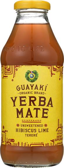 Guayaki Yerba Mate - Unsweetened Hibiscus Lime - Case of 12 - 16 Fl oz.