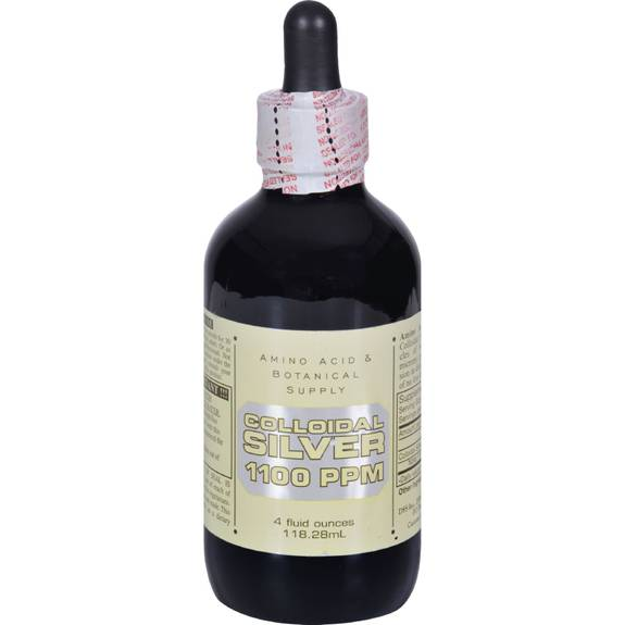 Amino Acid and Botanical Supply Liquid Colloidal Silver - 1100 ppm - 4 fl oz
