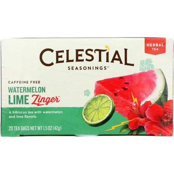 Celestial Seasonings Herbal Tea - Watermelon Lime Zinger - 20 Bags - Case Of 6