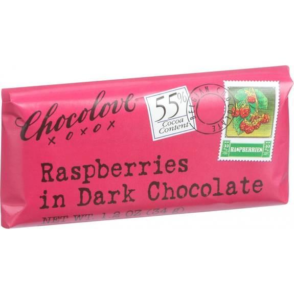Chocolove Xoxox - Premium Chocolate Bar - Dark Chocolate - Raspberries - Mini - 1.2 Oz Bars - Case Of 12