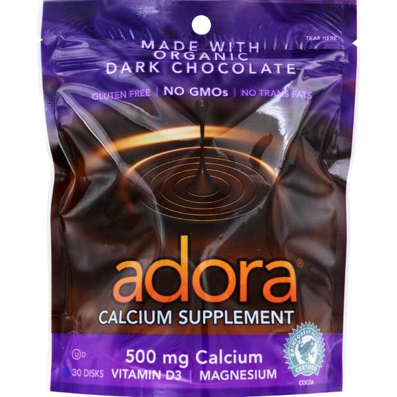 Adora - Organic Calcium Supplement Disk - Dark Chocolate - 30 Ct - 1 Case