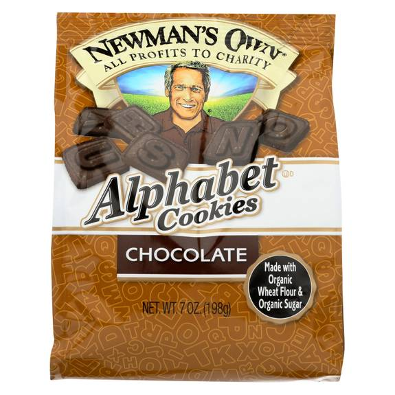 Newman's Own Organics Alphabet Cookies - Chocolate - Case of 6 - 7 oz.