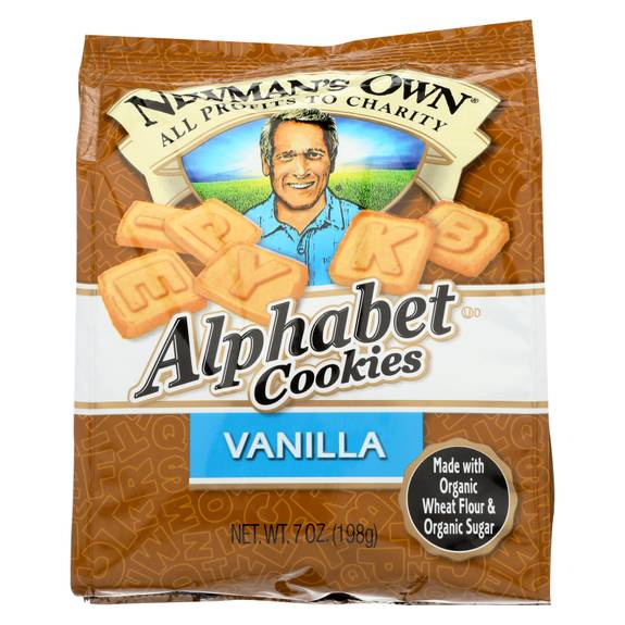 Newman's Own Organics Alphabet Cookies - Vanilla - Case of 6 - 7 oz.
