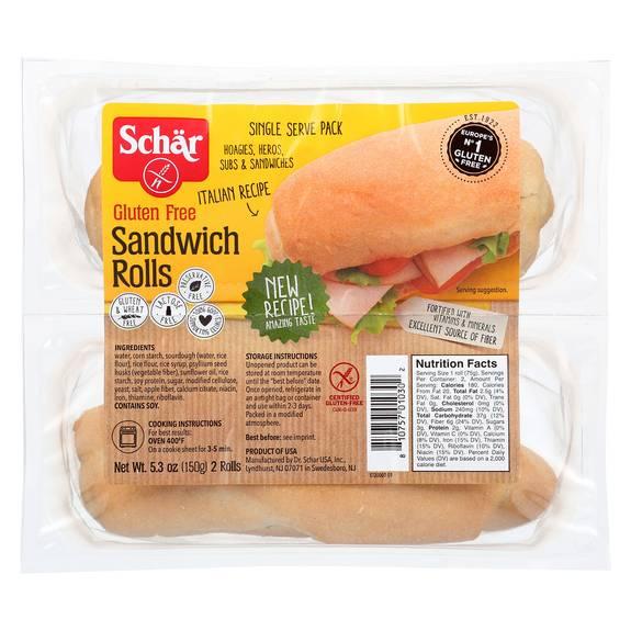 Schar Sub Sandwich Rolls Gluten Free - Case Of 6 - 5.3 Oz.