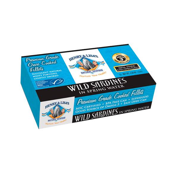 Henry And Lisa's Natural Seafood Wild Sardines In Spring Water - Case Of 12 - 4.25 Oz.