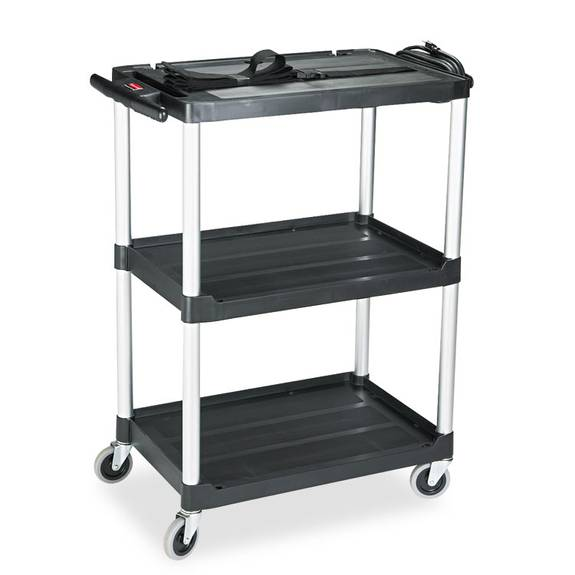 Mediamaster Three-shelf Av Cart, 18-5/8w X 32-1/2d X 42-3/8h, Black