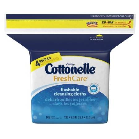 Personal Wipe Cottonelle Fresh Care Refill Pouch Aloe  Vitamin E Scented 168 Count Qty 1344