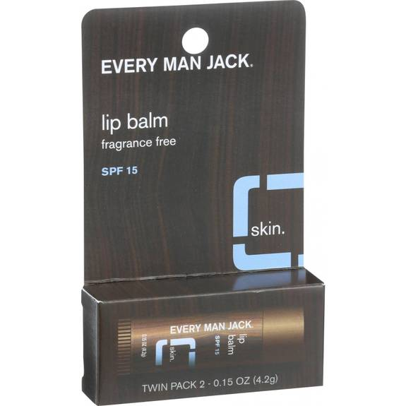 Every Man Jack Lip Balm - Fragrance Free - SPF 15 - Twin Pack - 2 Count - .15 oz