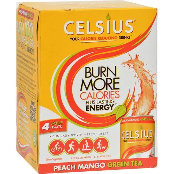 Celsius Drink Peach Mango Green Tea - 4 Pk