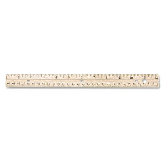 Hole Punched Wood Ruler English And Metric With Metal Edge, 12 Inch