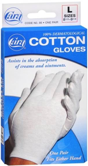 Cara Inorated Cotton Gloves - White Large (Pair) Fits 8-1/2  - 9-1/2 Part No.86