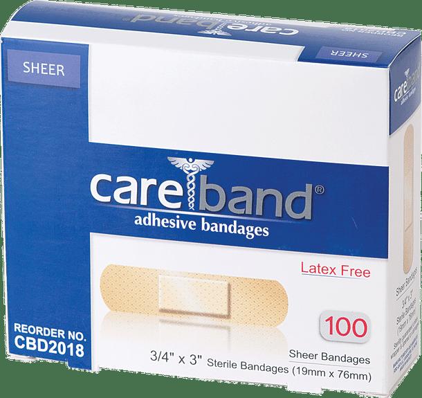 """CareBand Sheer Adhesive Bandage, 3/4"""" x 3"""" Part No. CBD2018 Qty  Per Box"""