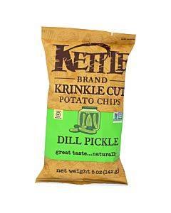 Kettle Brand Krinkle Cut Potato Chips - Dill Pickle - Case Of 15 - 5 Oz.
