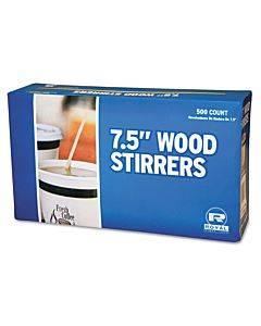 "Wood Coffee Stirrers, 7 1/2"" Long, Woodgrain, 500 Stirrers/box, 10 Boxes/carton"