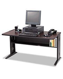 Computer Desk W/ Reversible Top, 47-1/2w X 28d X 30h, Mahogany/medium Oak/black