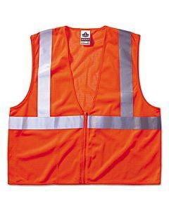 Glowear 8210z Class 2 Economy Vest, Polyester Mesh, Zipper Closure, Orange, L/xl