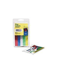 """Colored Foil Stars, 1/2"""" Dia, Assorted Colors, 440/pack"""