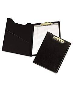 Value Padfolio, Heavyweight Sealed Vinyl, Brass Clip, Inside Front Pocket, Black