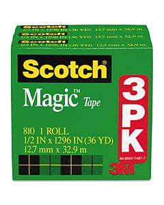 """Magic Tape Refill, 1"""" Core, 0.5"""" X 36 Yds, Clear, 3/pack"""