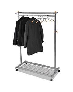 Garment Racks, Two-sided, 2-shelf Coat Rack, 6 Hanger/6 Hook, Silver Steel/wood