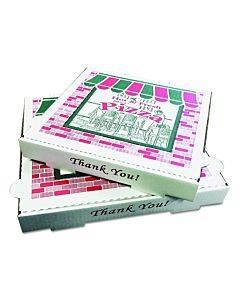 "Corrugated Kraft Pizza Boxes, B-flute, White, 14"" Pizza, 14w X 14d X 2 .5h, 50/bundle"