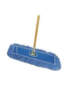 "Looped-end Dust Mop Kit, 36 X 5, 60"" Metal/wood Handle, Blue/natural"