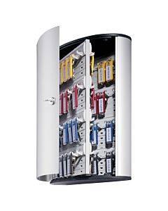 Locking Key Cabinet, 72-key, Brushed Aluminum, 11 3/4 X 4 5/8 X 15 3/4