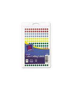 """Handwrite Only Self-adhesive Removable Round Color-coding Labels, 0.25"""" Dia., Assorted, 192/sheet, 4 Sheets/pack, (5795)"""