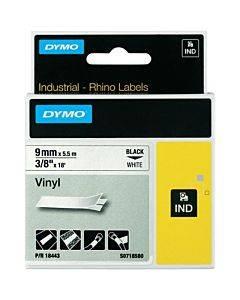 "Rhino Permanent Vinyl Industrial Label Tape, 3/8"" X 18 Ft, White/black Print"
