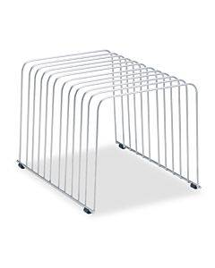 """Wire Desktop Organizer, 11 Sections, Letter To Legal Size Files, 9"""" X 11.38"""" X 8"""", Silver"""