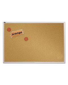 Natural Cork Bulletin Board, 96 X 48, Anodized Aluminum Frame