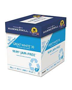 Great White 30 Recycled Print Paper, 92 Bright, 20 Lb, 8.5 X 11, White, 2,500 Sheets/carton