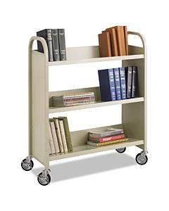 Steel Book Cart, Three-shelf, 36w X 14.5d X 43.5h, Sand