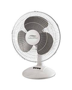12-inch Three-speed Oscillating Desk Fan, Metal/plastic, White