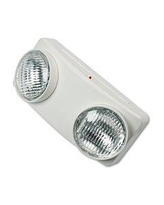 "Swivel Head Twin Beam Emergency Lighting Unit, 12.75""w X 4""d X 5.5""h, White"