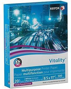 Vitality Multipurpose Print Paper, 92 Bright, 3-hole, 20lb, 8.5 X 11, White, 500/ream
