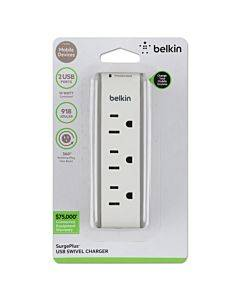 Surgeplus Usb Swivel Charger, 3 Outlets/2 Usb Ports, 918 Joules, White