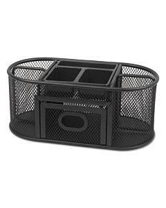 Metal Mesh Oval Desktop Organizer, 9 3/8 X 4 X 4 7/8, Black