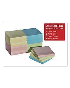 "Self-stick Note Pads, 3"" X 3"", Pastel, 90-sheet, 24 Pads/pack"