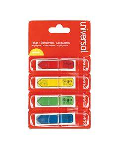 """Deluxe Message Arrow Flags, """"sign Here"""", Assorted Colors, 120/pack"""