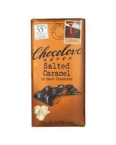 Chocolove Xoxox - Dark Chocolate Bar - Salted Caramel - Case Of 10 - 3.2 Oz