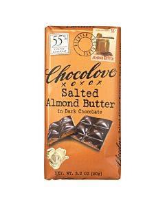 Chocolove Xoxox - Dark Chocolate Bar - Salted Almond Butter - Case Of 10 - 3.2 Oz