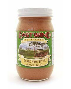 East Wind Peanut Butter - Crunchy - No Salt - Case Of 6 - 16 Oz