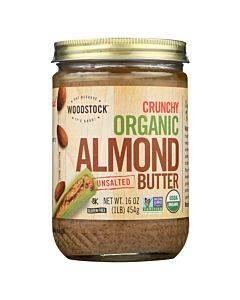Woodstock Organic Almond Butter - Crunchy - Unsalted - 16 Oz.