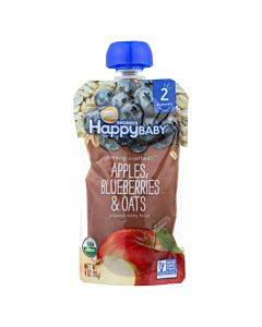 Happy Baby Happy Baby Clearly Crafted - Apple Blueberries And Oats - Case Of 16 - 4 Oz.