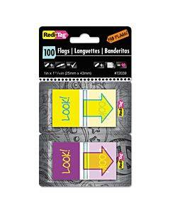 """Pop-up Fab Page Flags W/dispenser, """"look!"""", Purple/yellow; Yellow/teal, 100/pack"""