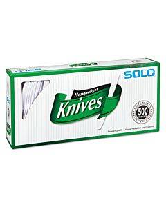 "Heavyweight Plastic Cutlery, Knives, White, 7"", 500/carton"