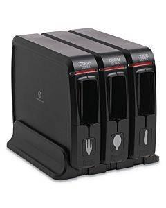 "Smartstock Wrapped Cutlery Dispenser, 12.44"" X 11.17"" X 10 1/2"", Black"