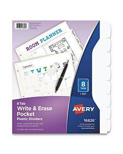 Write And Erase Durable Plastic Dividers With Pocket, 8-tab, 11.13 X 9.25, White, 1 Set