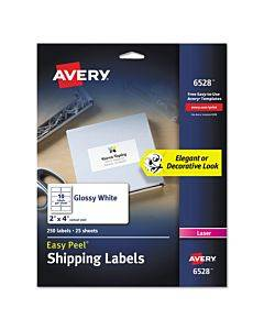 Glossy White Easy Peel Mailing Labels W/ Sure Feed Technology, Laser Printers, 2 X 4, White, 10/sheet, 25 Sheets/pack